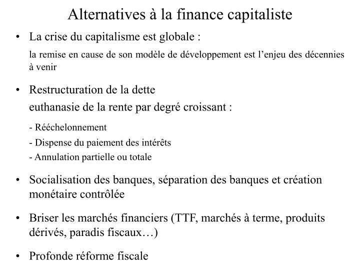 Alternatives à la finance capitaliste