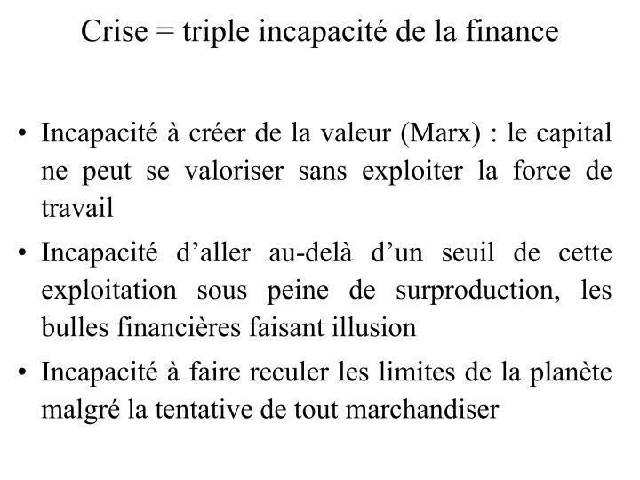 Crise = triple incapacité de la finance