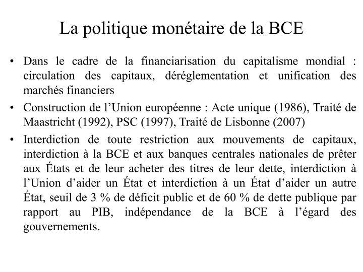 La politique monétaire de la BCE
