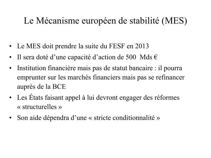 Le Mécanisme européen de stabilité (MES)