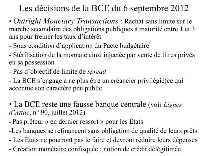 Les décisions de la BCE du 6 septembre 2012