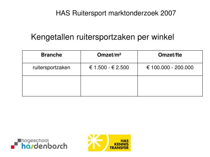 HAS Ruitersport marktonderzoek 2007
