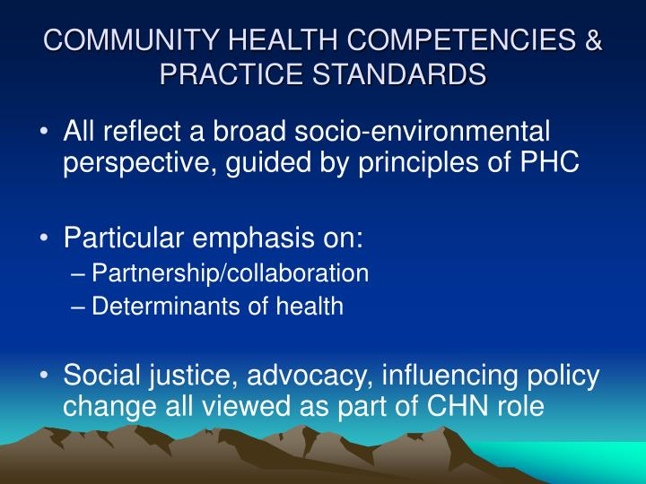COMMUNITY HEALTH COMPETENCIES & PRACTICE STANDARDS