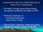community health competencies practice standards