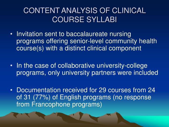 CONTENT ANALYSIS OF CLINICAL COURSE SYLLABI