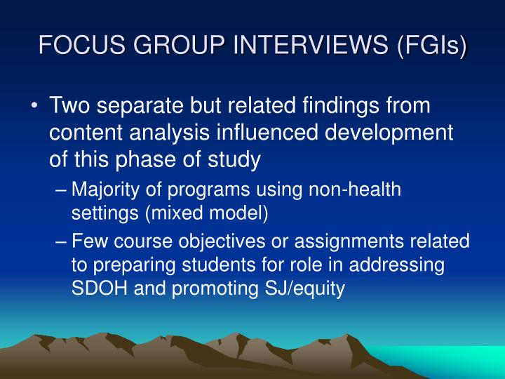 FOCUS GROUP INTERVIEWS (FGIs)