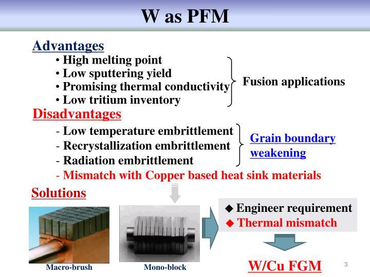 W as PFM