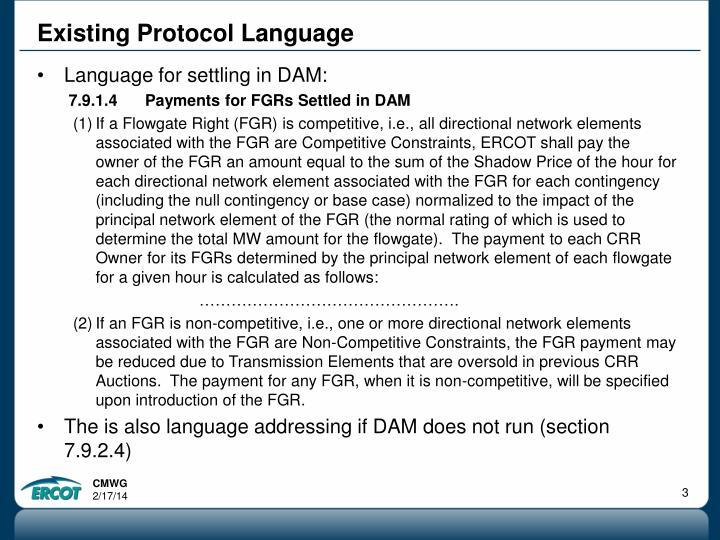 Existing Protocol Language