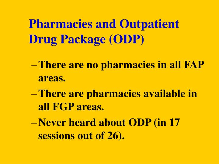 Pharmacies and Outpatient Drug Package (ODP)