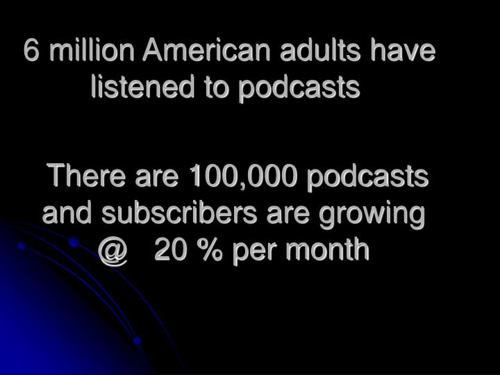 6 million American adults have listened to podcasts