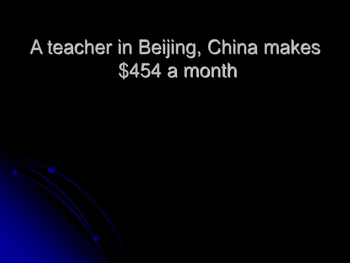 A teacher in Beijing, China makes