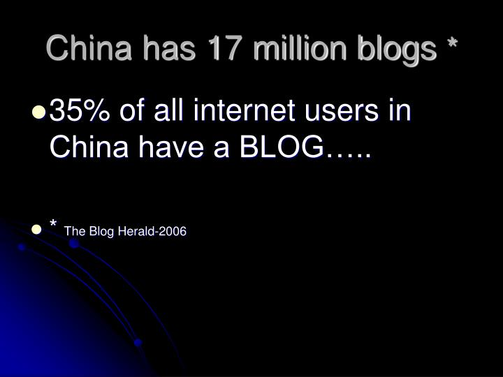 China has 17 million blogs