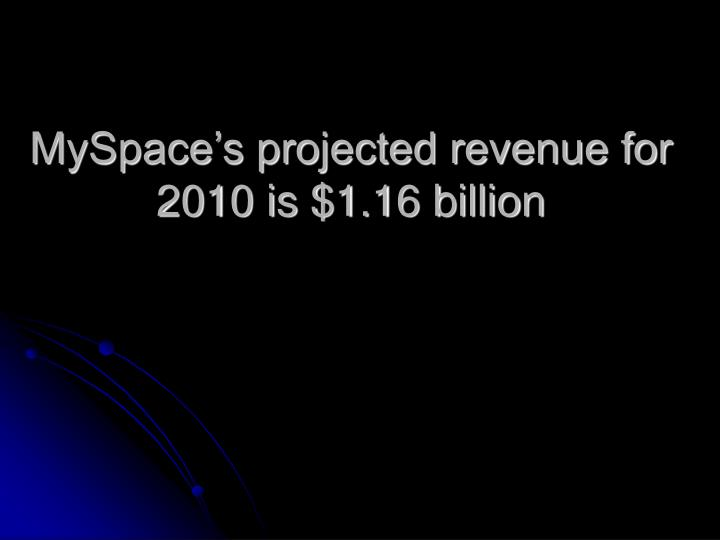 MySpace's projected revenue for 2010 is $1.16 billion