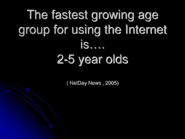 The fastest growing age group for using the Internet is….