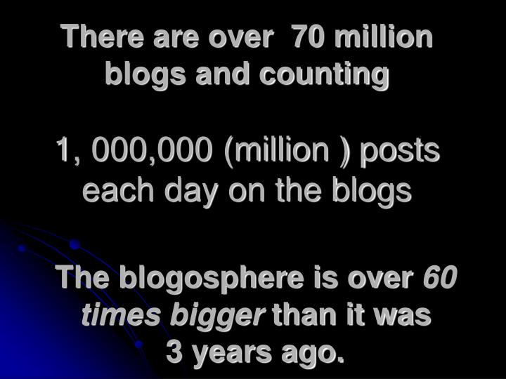 There are over  70 million blogs and counting