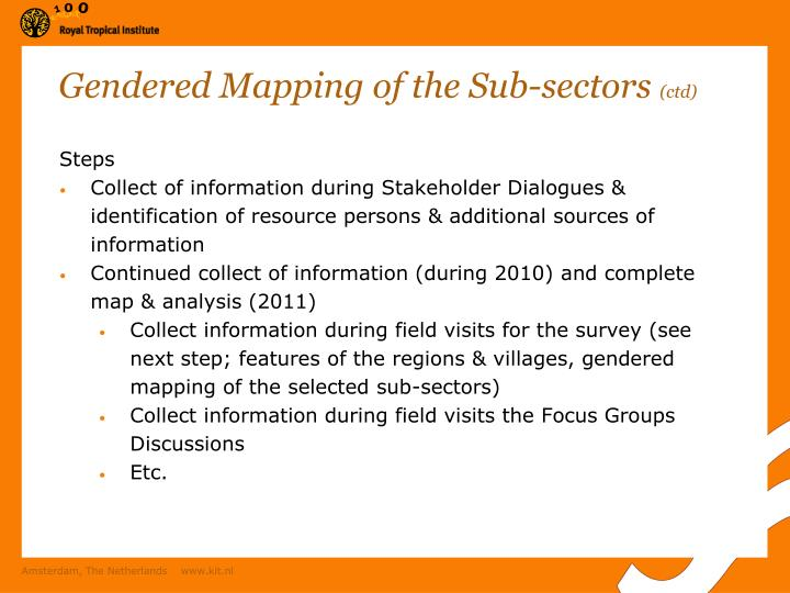 Gendered Mapping of the Sub-sectors