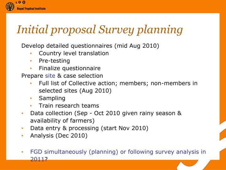 Initial proposal Survey planning