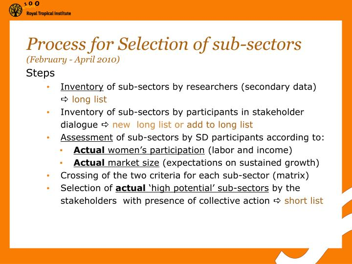 Process for Selection of sub-sectors