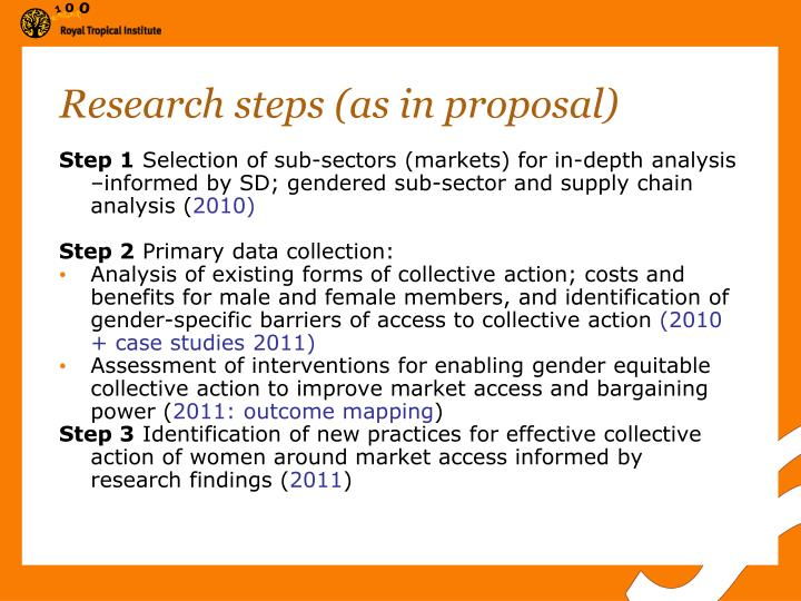 Research steps (as in proposal)
