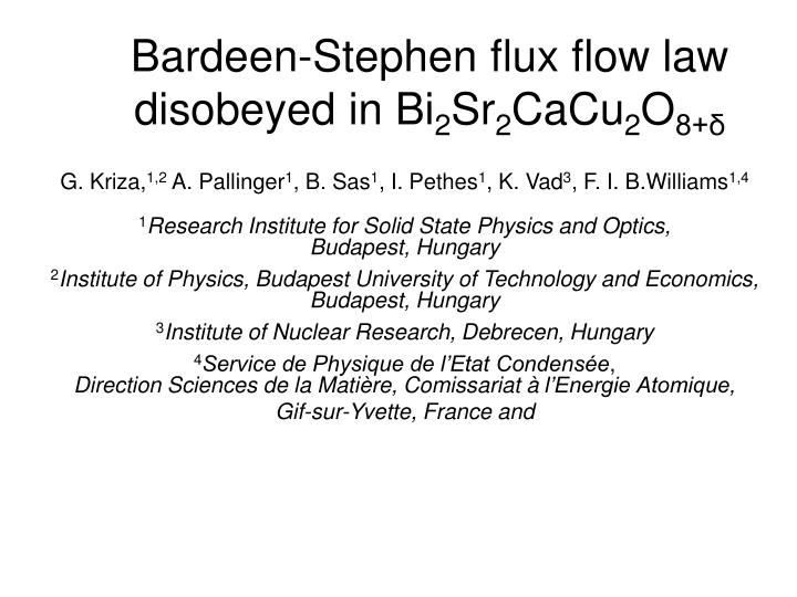 Bardeen stephen flux flow law disobeyed in bi 2 sr 2 cacu 2 o 8