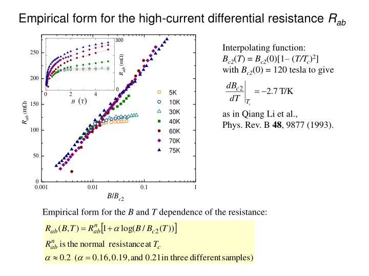 Empirical form for the high-current differential resistance