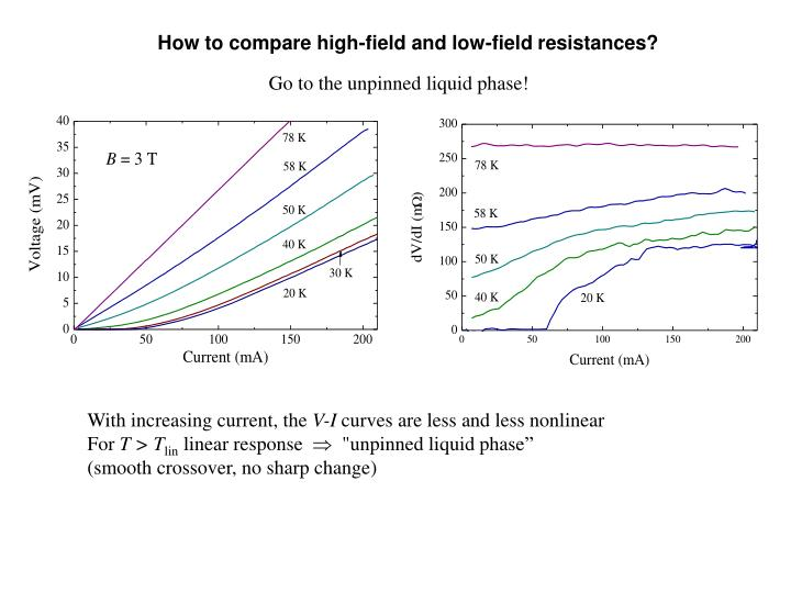 How to compare high-field and low-field resistances?