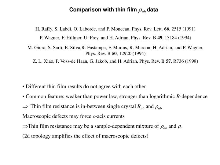 Comparison with thin film