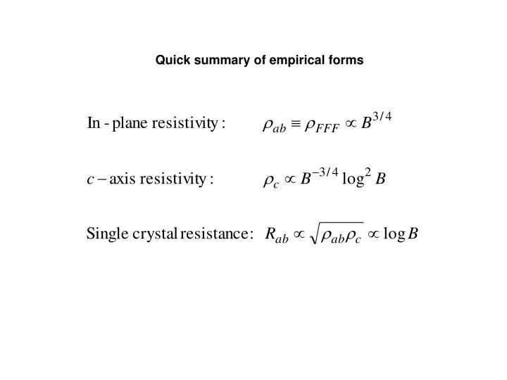 Quick summary of empirical forms