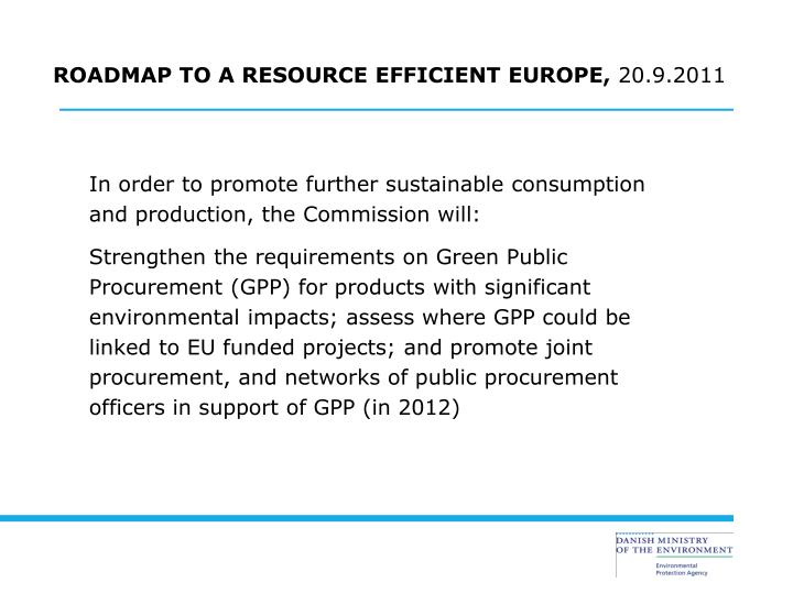 ROADMAP TO A RESOURCE EFFICIENT EUROPE,