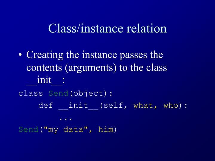 Class/instance relation