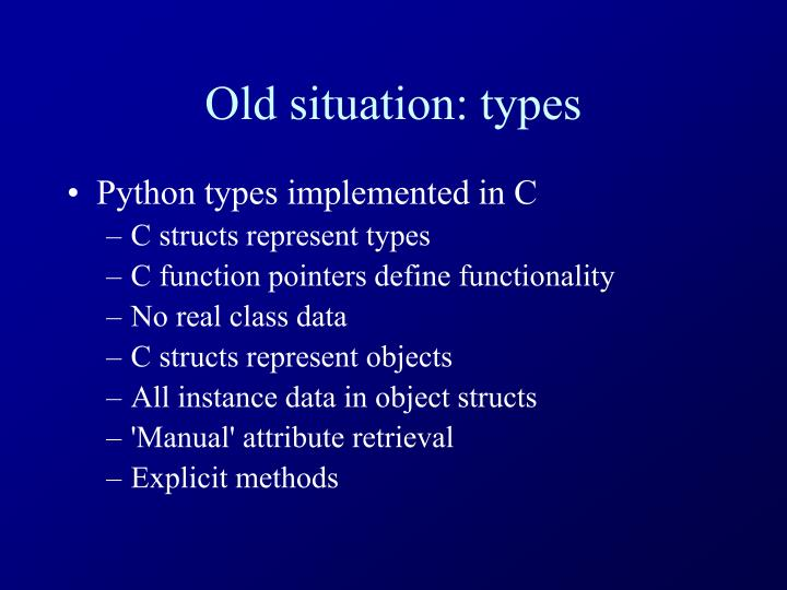 Old situation types