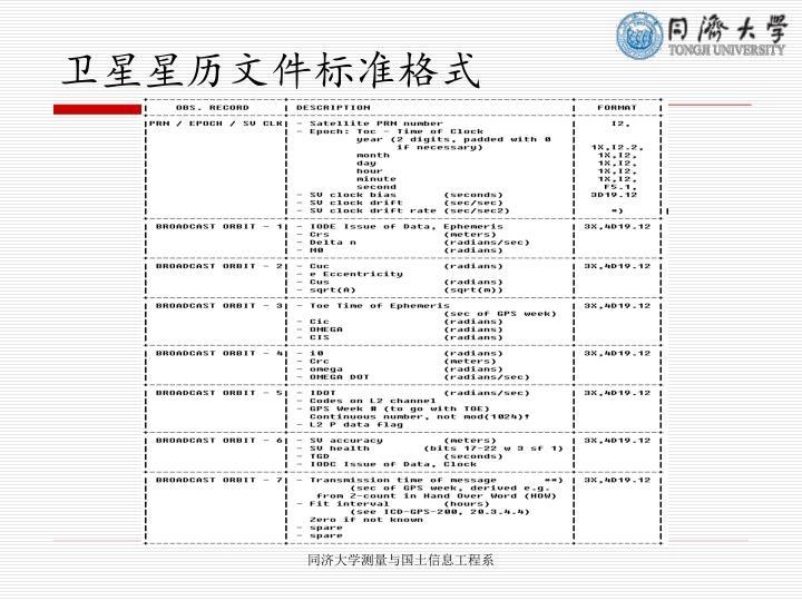 卫星星历文件标准格式
