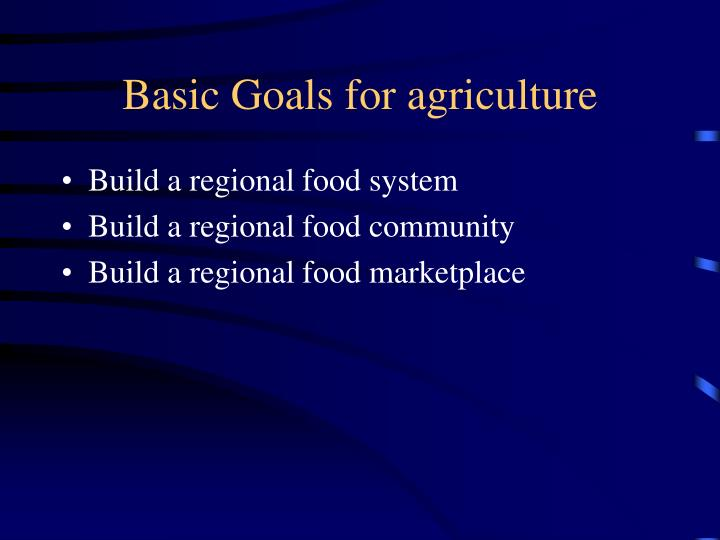 Basic Goals for agriculture