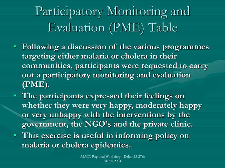 Participatory Monitoring and Evaluation (PME) Table