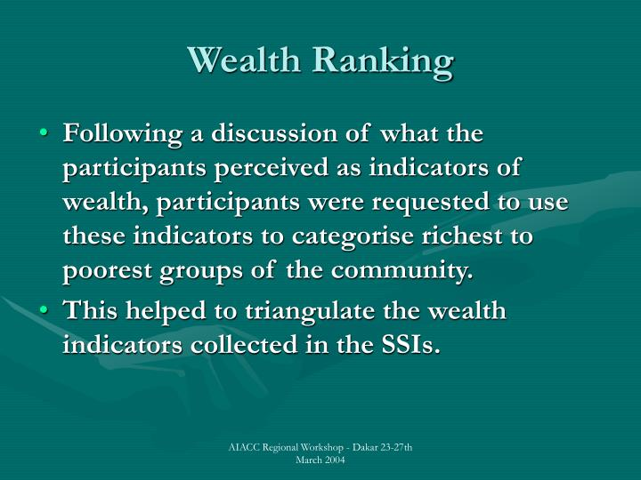 Wealth Ranking