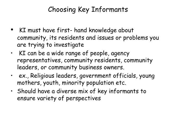 Choosing Key Informants