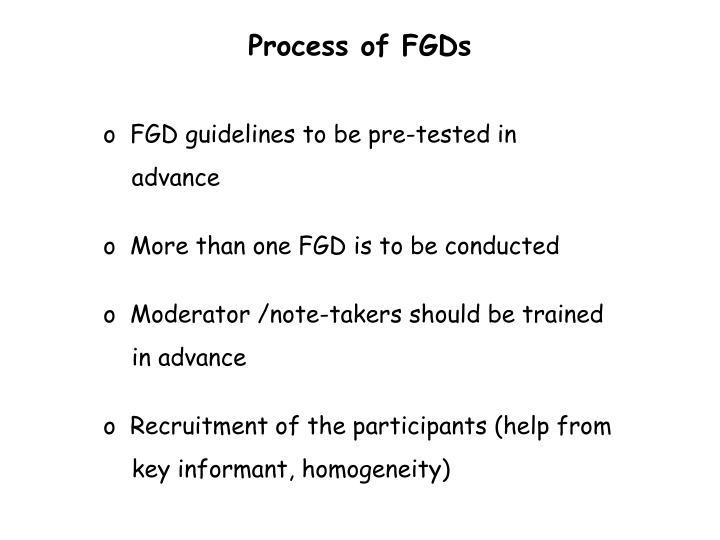 Process of FGDs