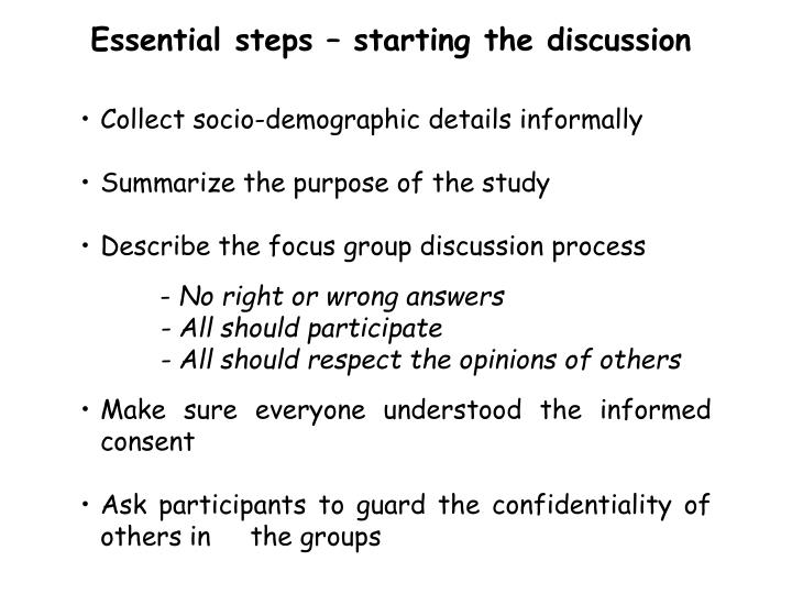 Essential steps – starting the discussion