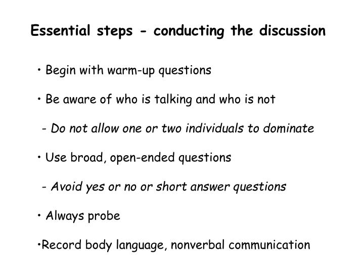 Essential steps - conducting the discussion