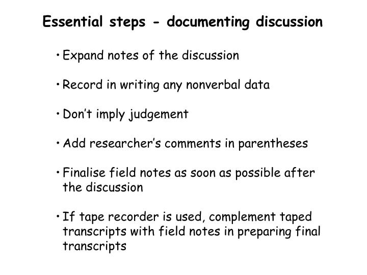 Essential steps - documenting discussion