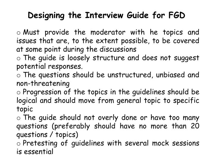 Designing the Interview Guide for FGD