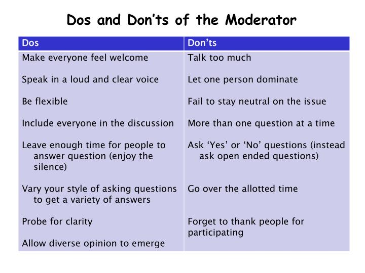 Dos and Don'ts of the Moderator