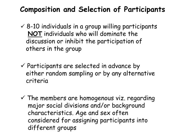 Composition and Selection of Participants