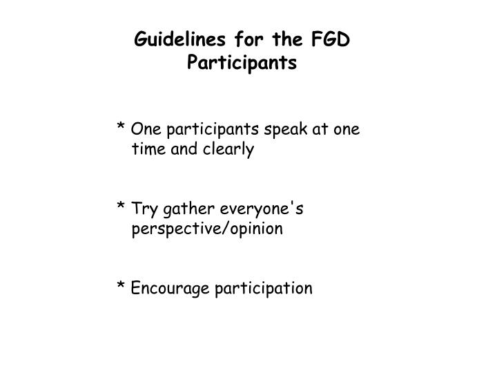Guidelines for the FGD Participants