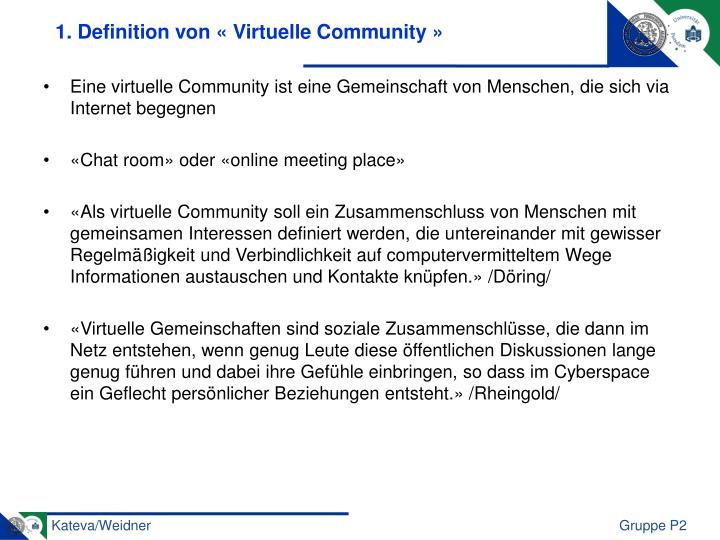 1. Definition von «Virtuelle Community»