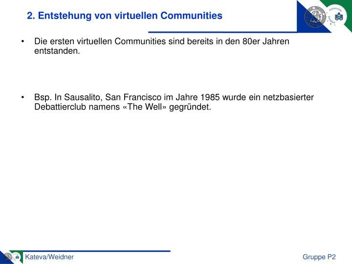 2. Entstehung von virtuellen Communities