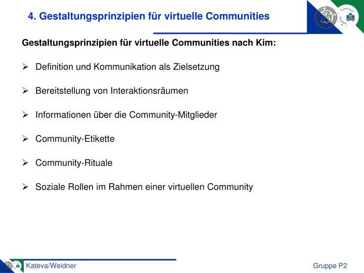 4. Gestaltungsprinzipien für virtuelle Communities