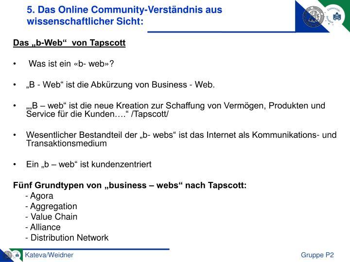 5. Das Online Community-Verständnis aus