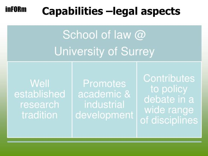 Capabilities –legal aspects