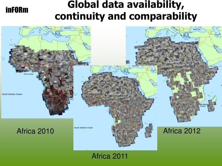 Global data availability, continuity and comparability